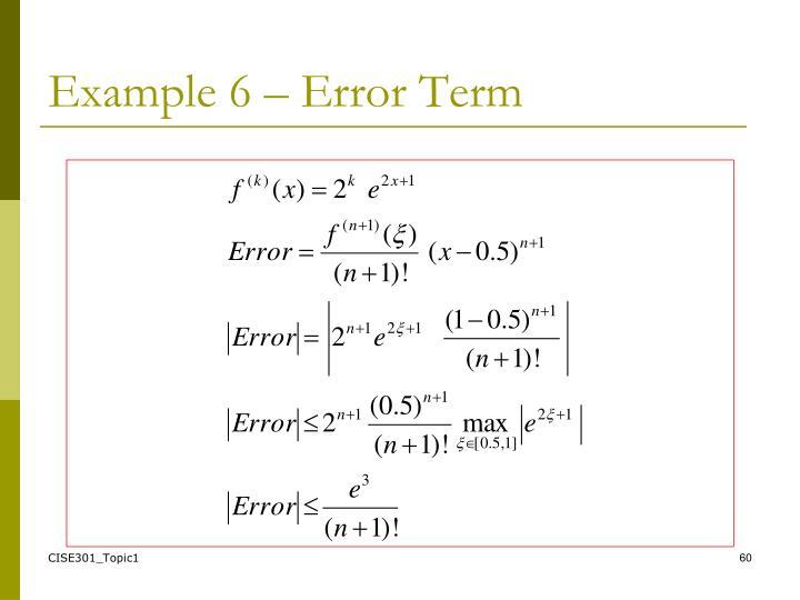 Example 6 – Error Term