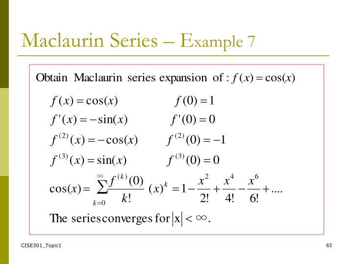 Maclaurin Series – E