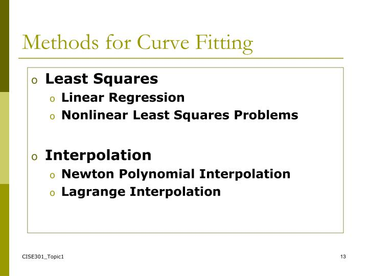 Methods for Curve Fitting
