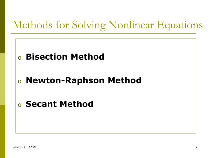 Methods for Solving Nonlinear Equations