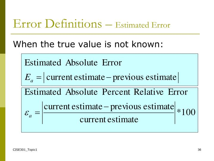 Error Definitions –