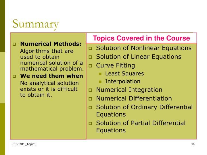 Numerical Methods: