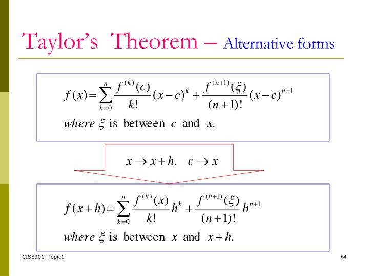 Taylor's  Theorem –
