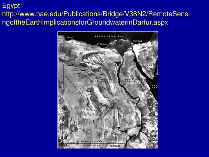 Egypt: http://www.nae.edu/Publications/Bridge/V38N2/RemoteSensingoftheEarthImplicationsforGroundwaterinDarfur.aspx