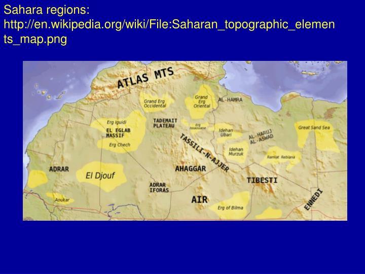 Sahara regions:
