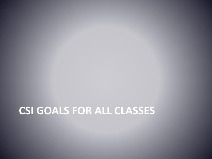 CSI Goals for all classes