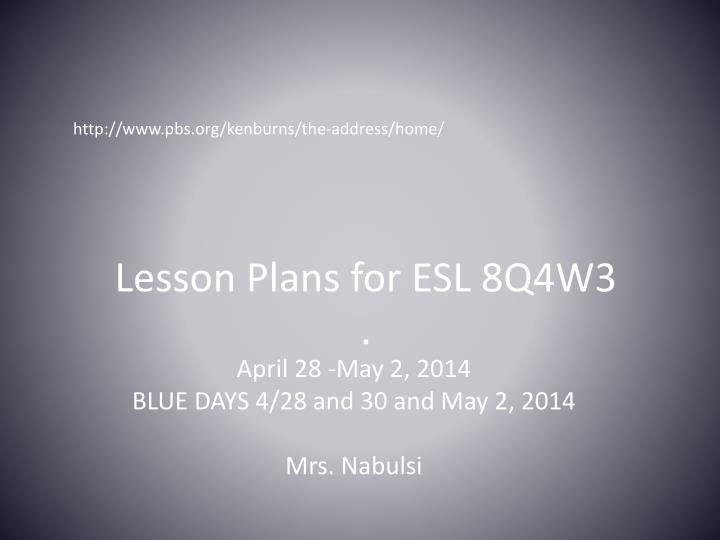 Lesson plans for esl 8q4w3