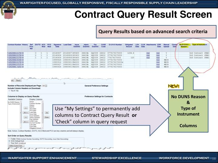 Contract Query Result Screen