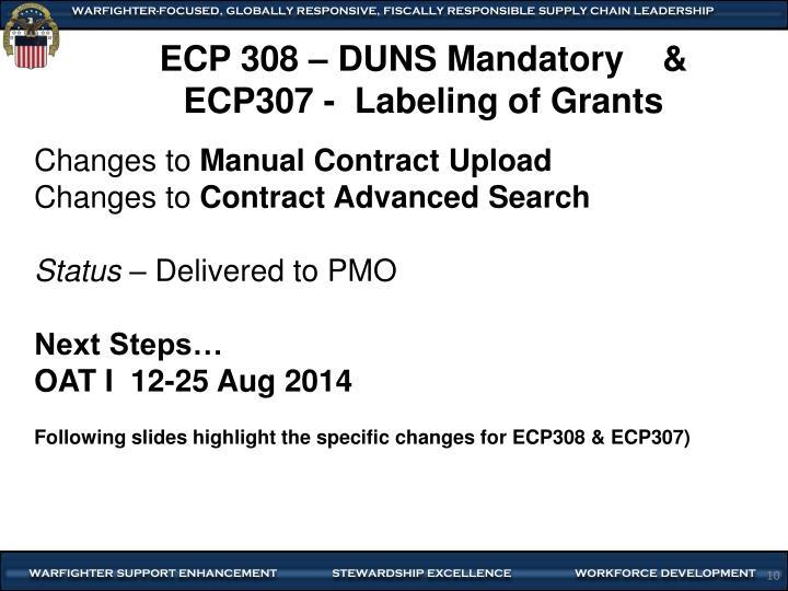 ECP 308 – DUNS Mandatory    &