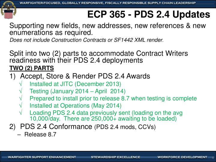 ECP 365 - PDS 2.4 Updates