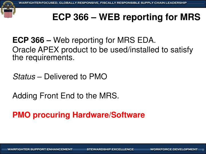 ECP 366 – WEB reporting for MRS