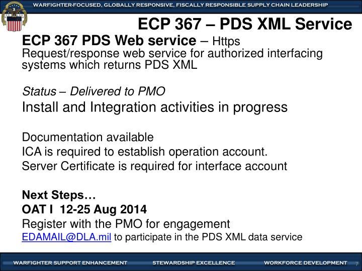 ECP 367 – PDS XML Service