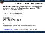 ecp 398 auto load warrants