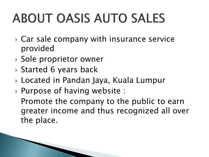 ABOUT OASIS AUTO SALES