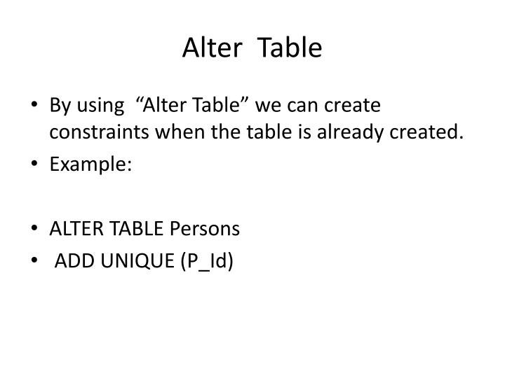 Alter  Table