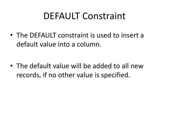 DEFAULT Constraint