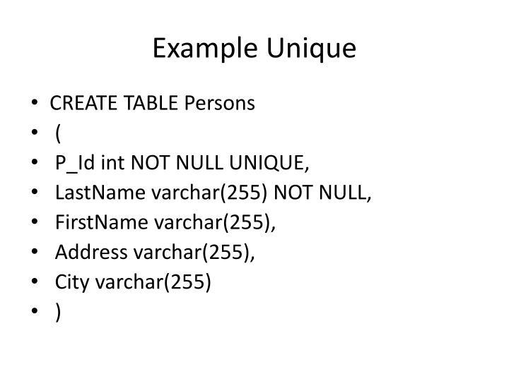 Example Unique