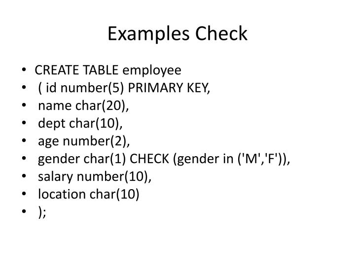 Examples Check