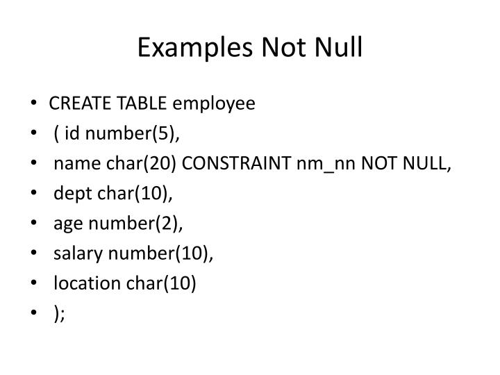 Examples Not Null