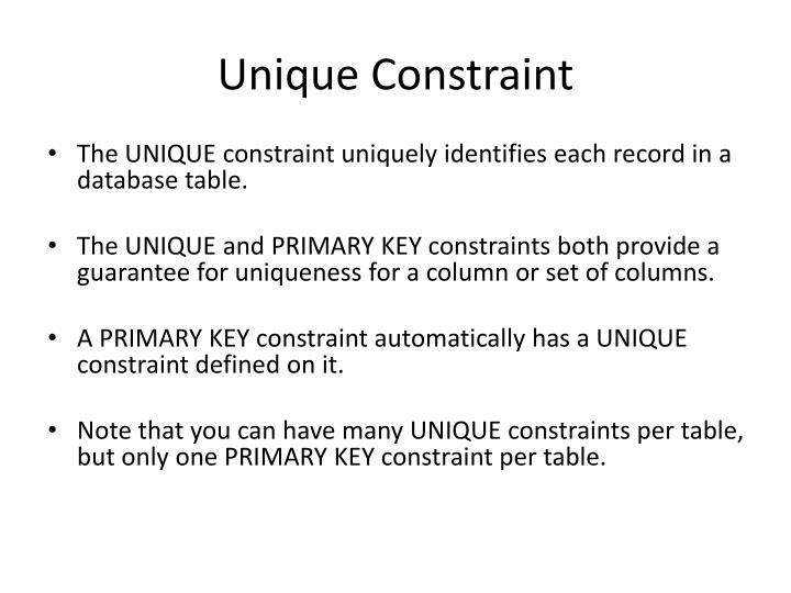 Unique Constraint