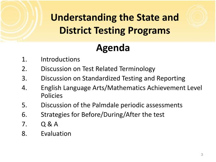 Understanding the State and District Testing Programs