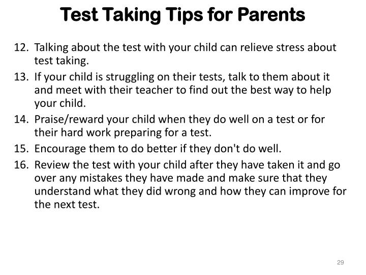 Test Taking Tips for Parents