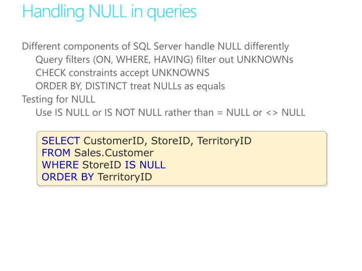 Handling NULL in queries