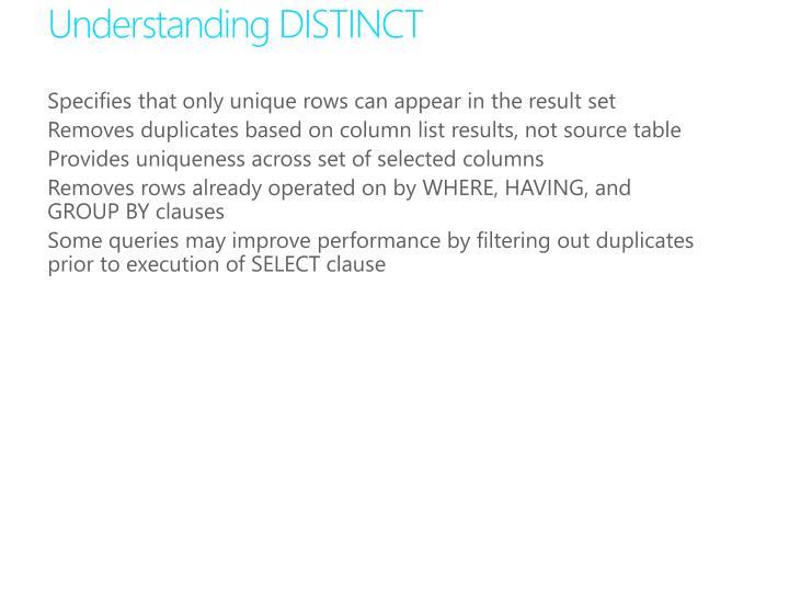 Understanding DISTINCT