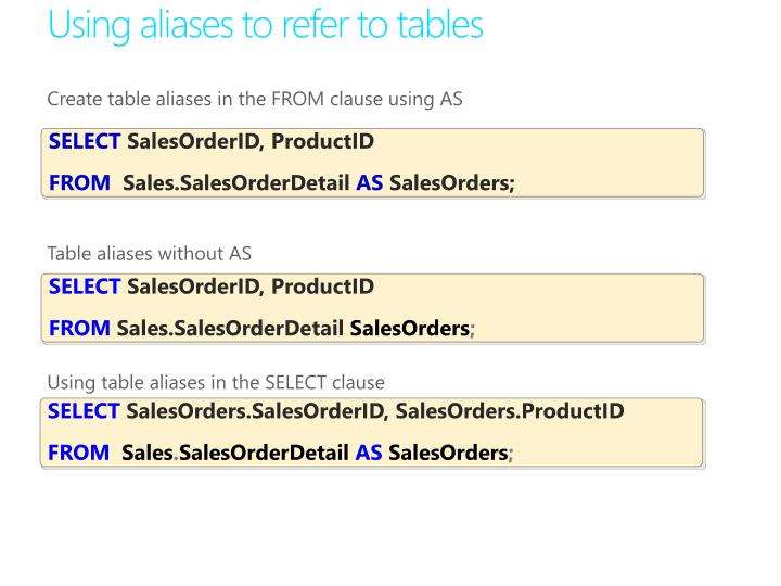 Using aliases to refer to tables