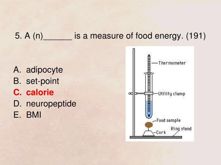 5. A (n)______ is a measure of food energy. (191)