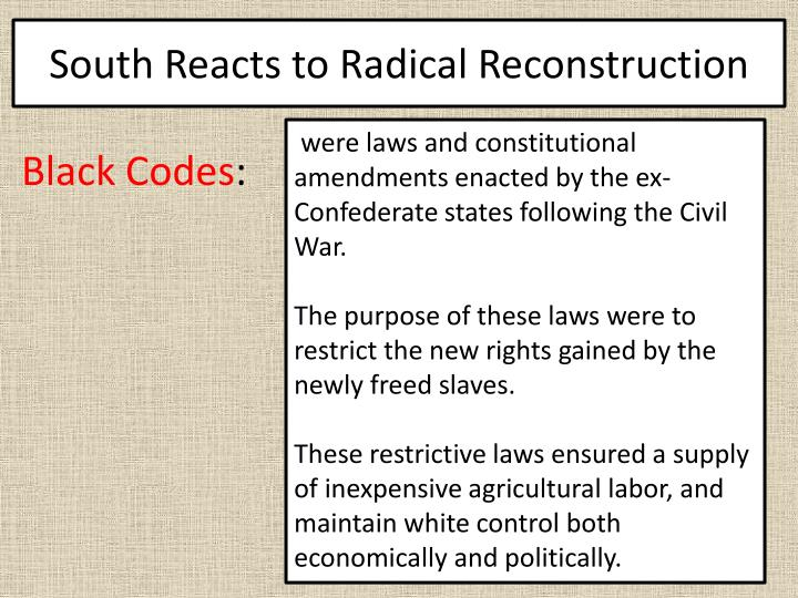 South Reacts to Radical Reconstruction
