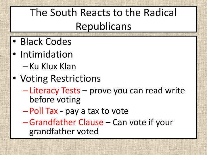 The South Reacts to the Radical Republicans