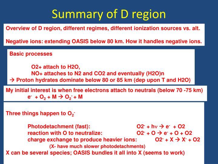 Summary of D region