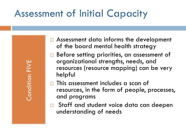 Assessment of Initial Capacity