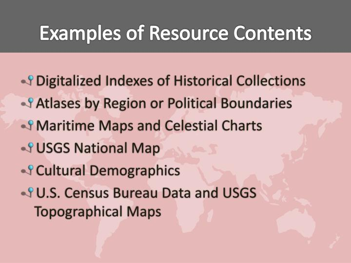 Examples of Resource Contents
