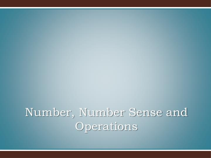 Number number sense and operations