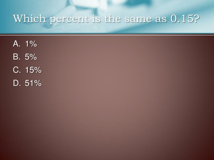 Which percent is the same as 0.15?