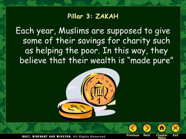 """Each year, Muslims are supposed to give some of their savings for charity such as helping the poor. In this way, they believe that their wealth is """"made pure"""""""