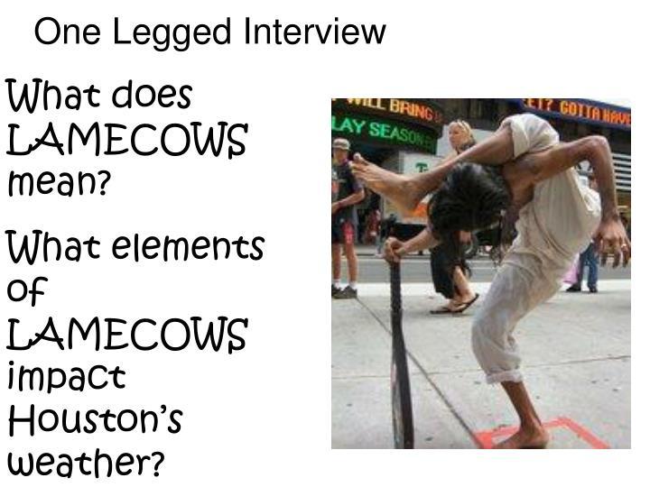 One Legged Interview