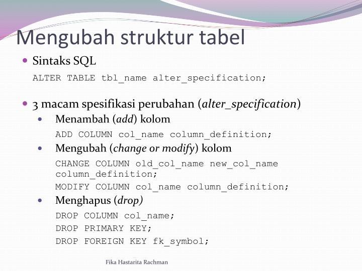 Mengubah struktur tabel