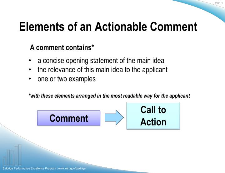 Elements of an Actionable Comment