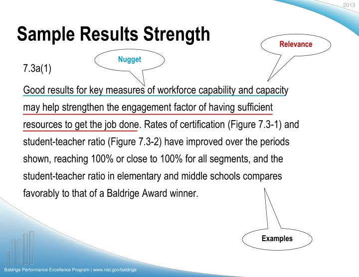 Sample Results Strength