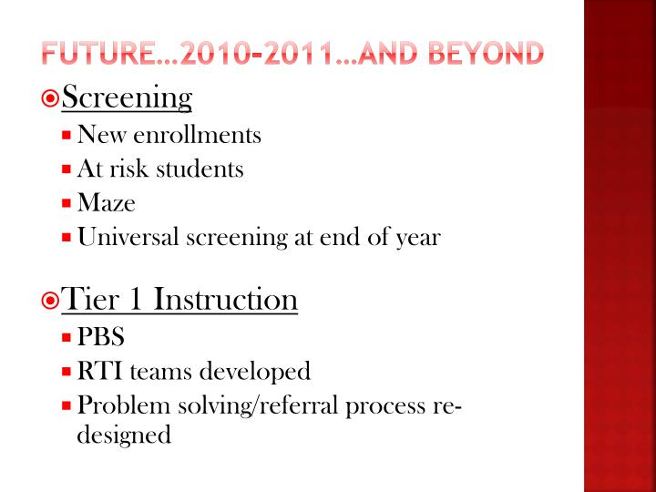 Future…2010-2011…and beyond