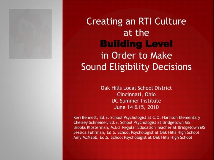 Creating an RTI Culture
