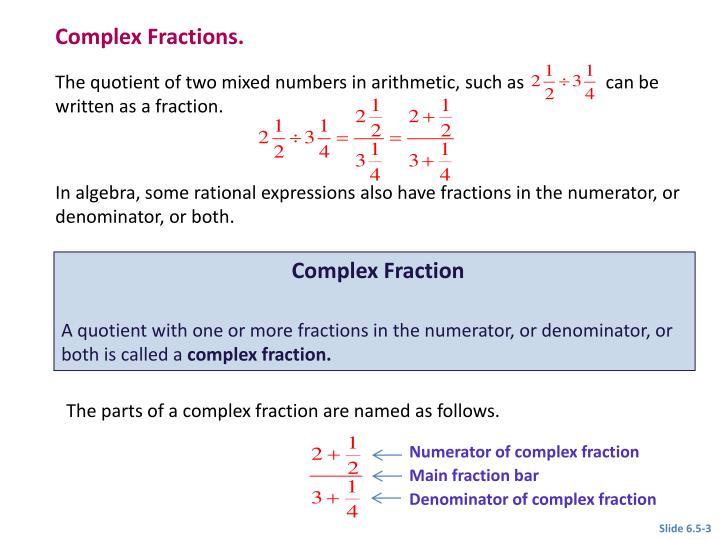 Complex Fractions.