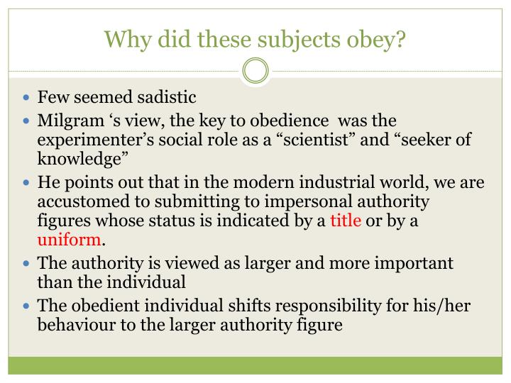 Why did these subjects obey?