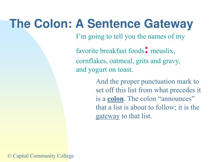 The colon a sentence gateway2