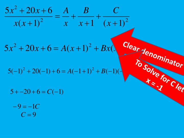 Step 4:  Solve for A,B,C by clearing the denominator and letting x = 0, -1.