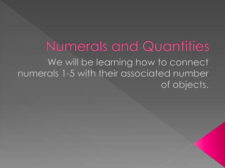 Numerals and quantities