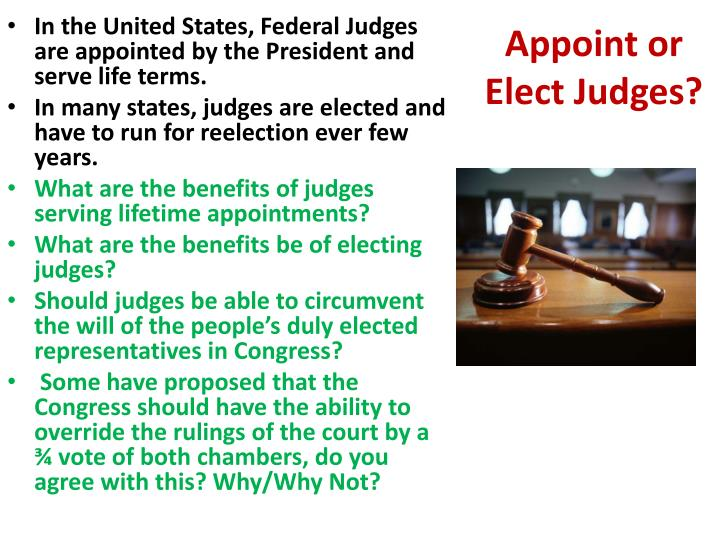 Appoint or Elect Judges?
